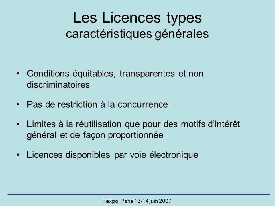 i expo, Paris 13-14 juin 2007 Conditions équitables, transparentes et non discriminatoires Pas de restriction à la concurrence Limites à la réutilisat
