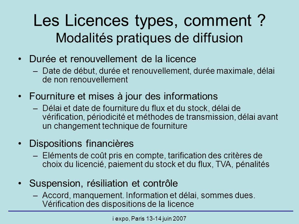 i expo, Paris 13-14 juin 2007 Les Licences types, comment ? Modalités pratiques de diffusion Durée et renouvellement de la licence –Date de début, dur