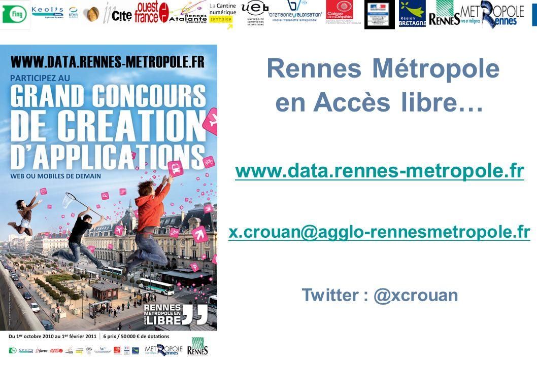 Rennes Métropole en Accès libre… www.data.rennes-metropole.fr x.crouan@agglo-rennesmetropole.fr Twitter : @xcrouan