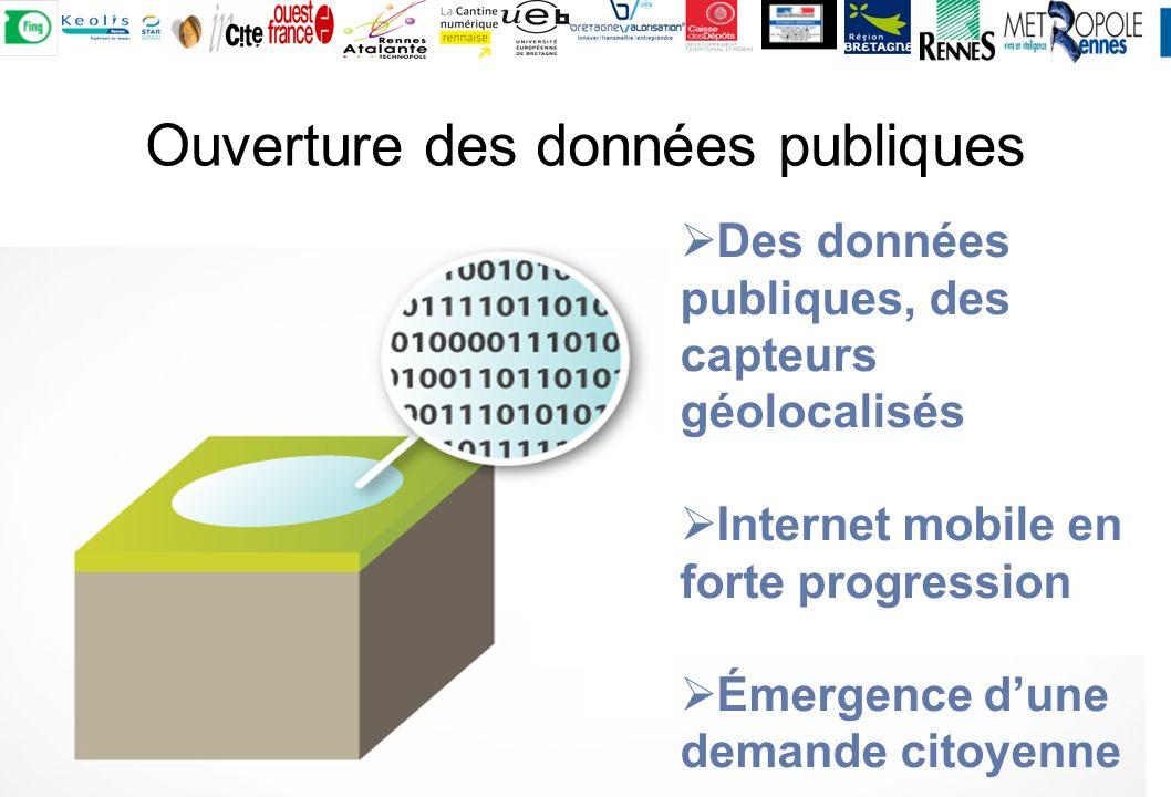 Ouverture des données publiques Des données publiques, des capteurs géolocalisés Internet mobile en forte progression Émergence dune demande citoyenne
