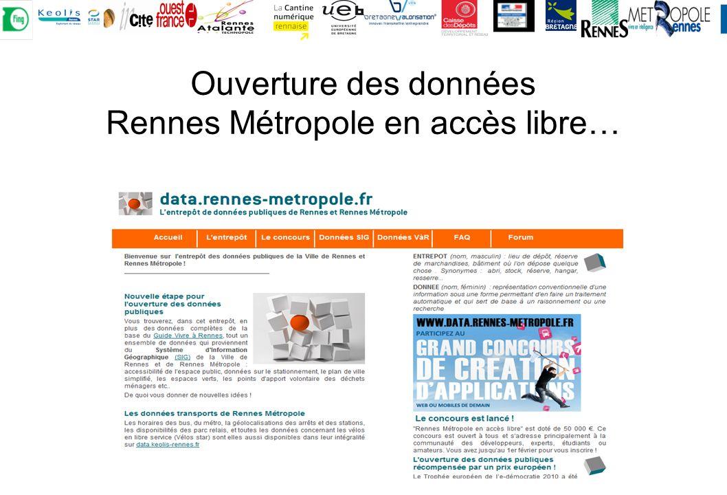 Ouverture des données Rennes Métropole en accès libre…