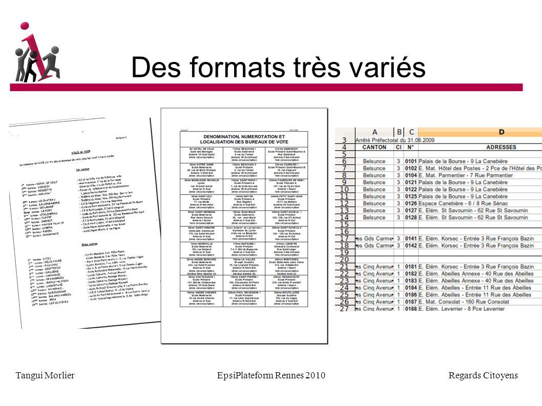 Regards Citoyens Tangui MorlierEpsiPlateform Rennes 2010 Quelques difficultés Pas d export possible Il faut payer Requête CADA