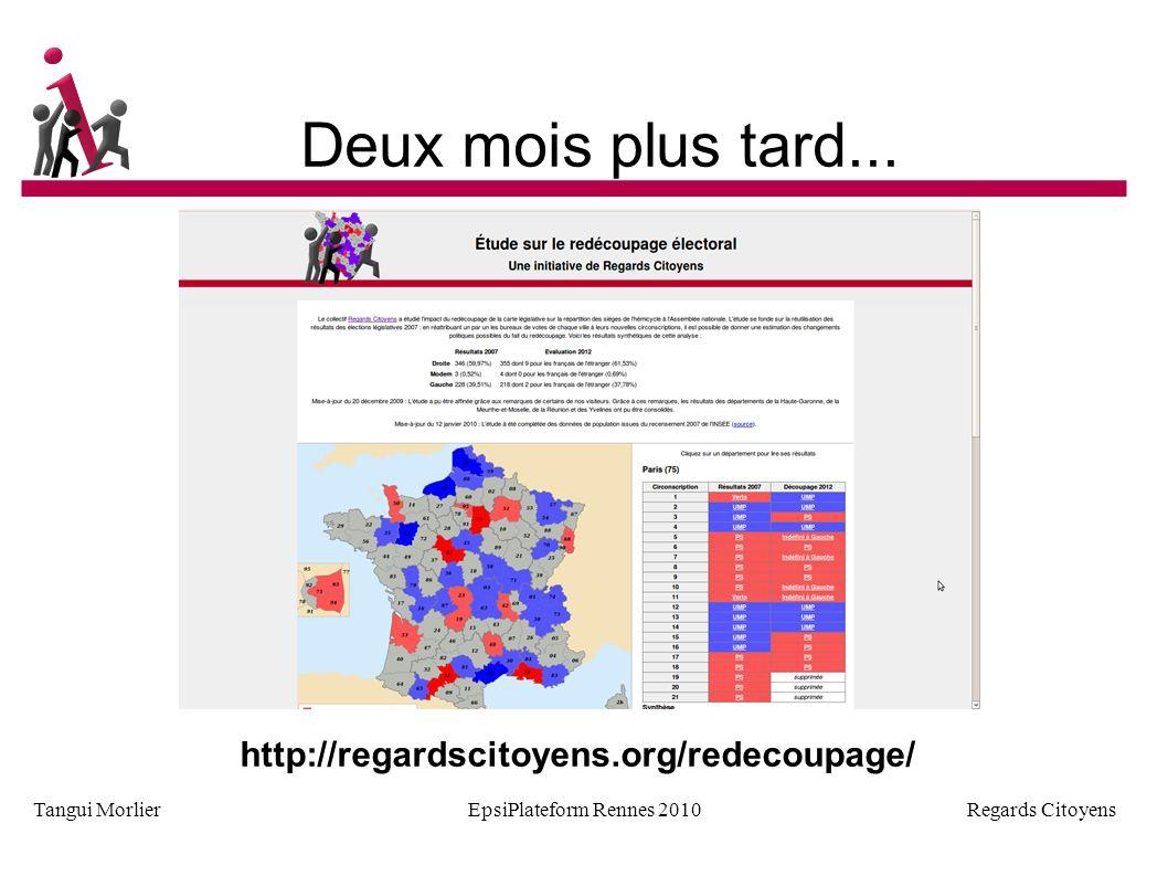 Regards Citoyens Tangui MorlierEpsiPlateform Rennes 2010 Partager les données http://elections.regardscitoyens.org/