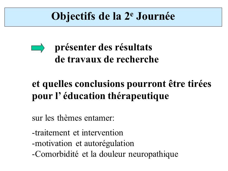 Objectifs de la 2 e Journée présenter des résultats de travaux de recherche et quelles conclusions pourront être tirées pour l éducation thérapeutique sur les thèmes entamer: -traitement et intervention -motivation et autorégulation -Comorbidité et la douleur neuropathique