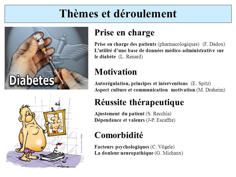 Thèmes et déroulement Prise en charge Prise en charge des patients (pharmacologiques) (F. Dadou) Lutilité dune base de données médico-administrative s