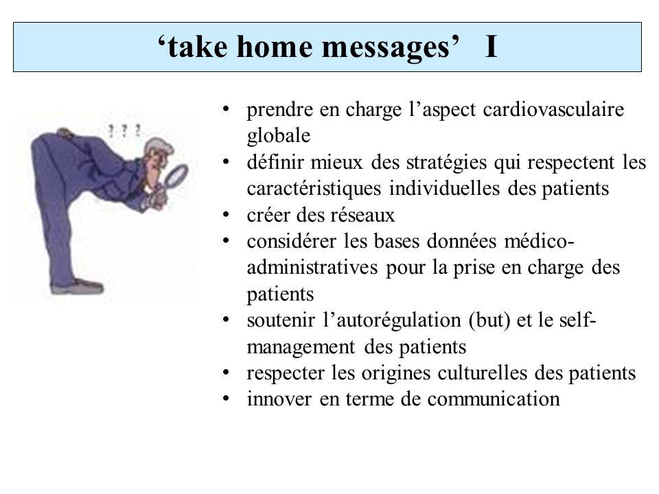take home messages I prendre en charge laspect cardiovasculaire globale définir mieux des stratégies qui respectent les caractéristiques individuelles