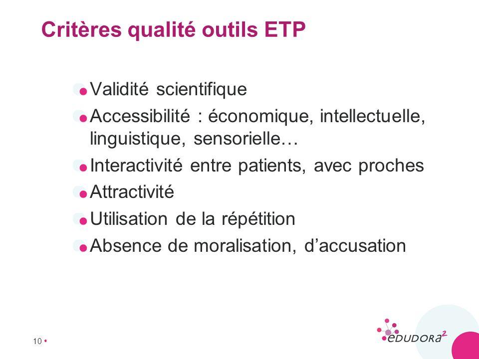 10 Critères qualité outils ETP Validité scientifique Accessibilité : économique, intellectuelle, linguistique, sensorielle… Interactivité entre patien