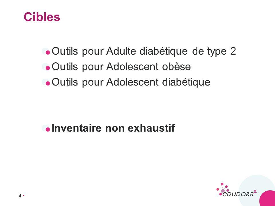 4 Cibles Outils pour Adulte diabétique de type 2 Outils pour Adolescent obèse Outils pour Adolescent diabétique Inventaire non exhaustif