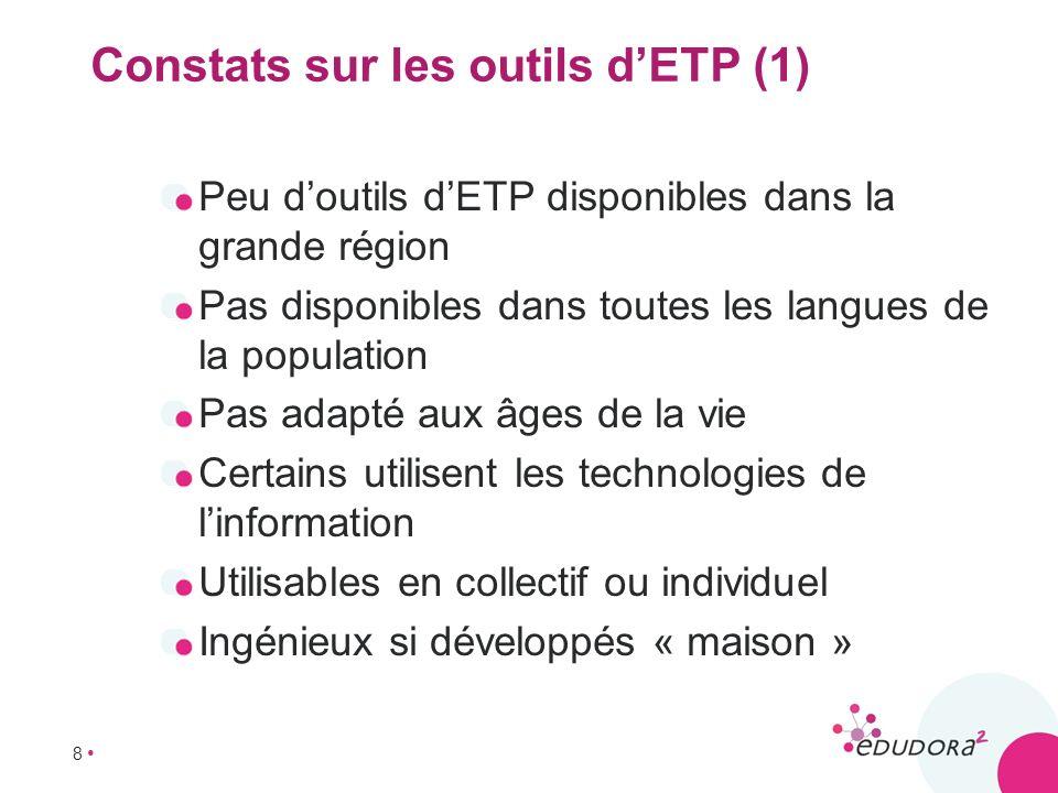 8 Constats sur les outils dETP (1) Peu doutils dETP disponibles dans la grande région Pas disponibles dans toutes les langues de la population Pas ada
