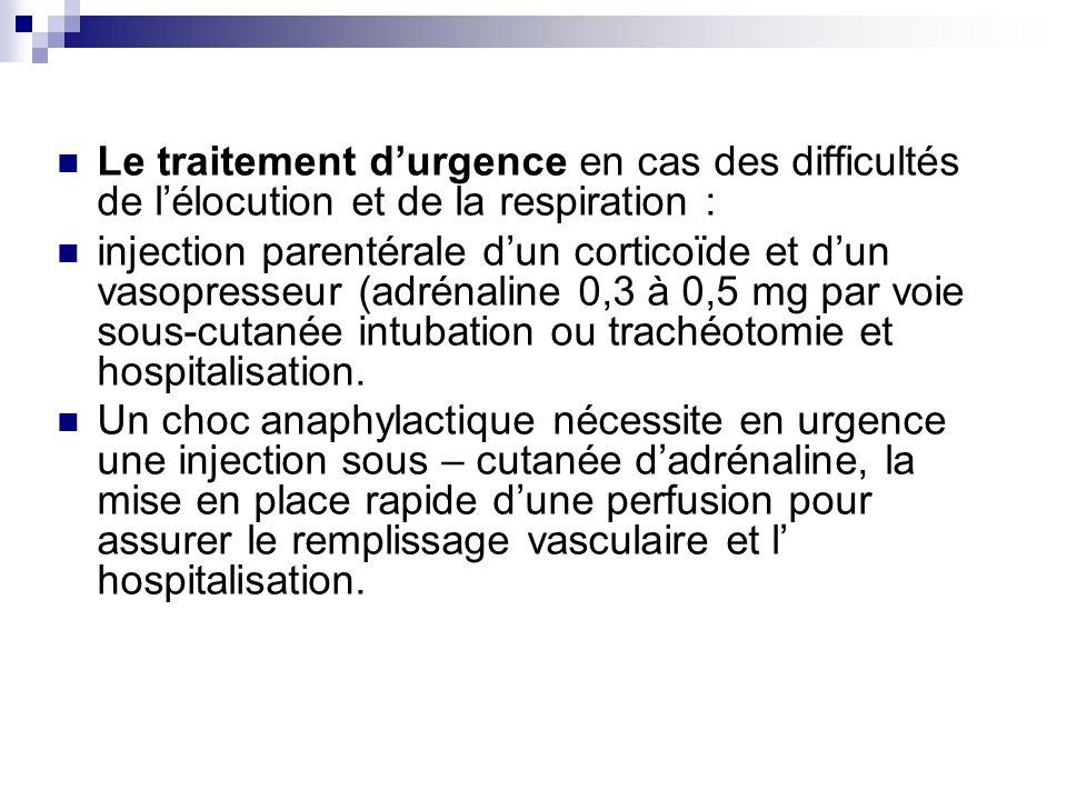 Le traitement durgence en cas des difficultés de lélocution et de la respiration : injection parentérale dun corticoïde et dun vasopresseur (adrénalin