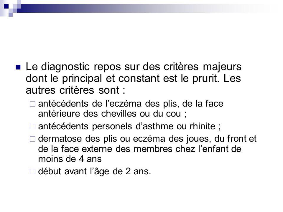 Le diagnostic repos sur des critères majeurs dont le principal et constant est le prurit. Les autres critères sont : antécédents de leczéma des plis,