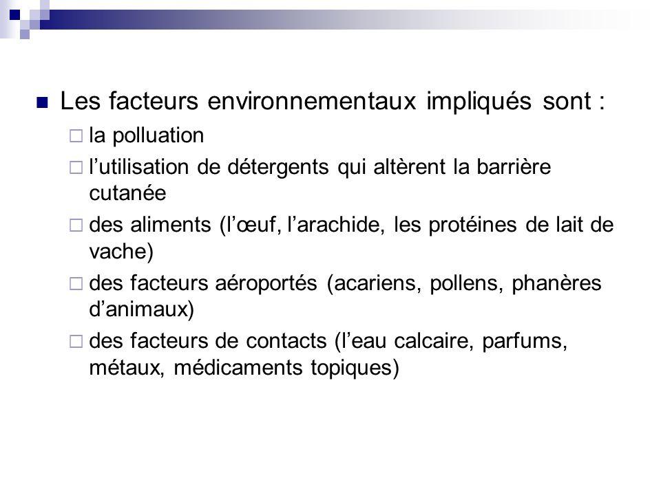 Les facteurs environnementaux impliqués sont : la polluation lutilisation de détergents qui altèrent la barrière cutanée des aliments (lœuf, larachide