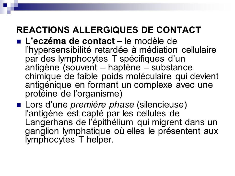 REACTIONS ALLERGIQUES DE CONTACT Leczéma de contact – le modèle de lhypersensibilité retardée à médiation cellulaire par des lymphocytes T spécifiques
