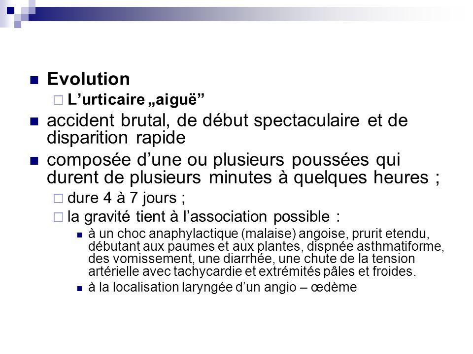 Evolution Lurticaire aiguë accident brutal, de début spectaculaire et de disparition rapide composée dune ou plusieurs poussées qui durent de plusieur