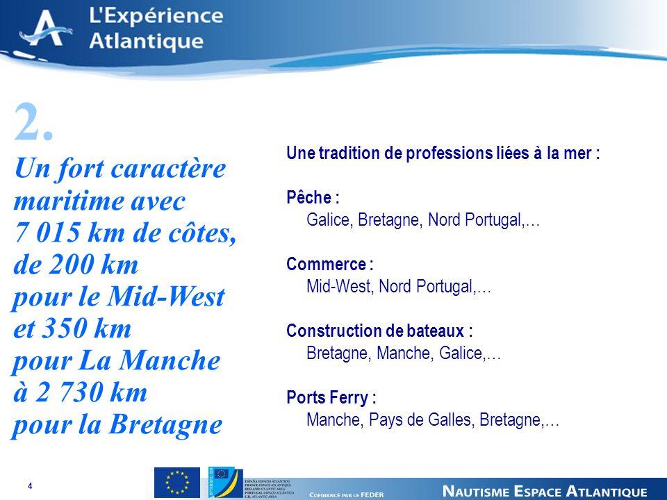 4 Une tradition de professions liées à la mer : Pêche : Galice, Bretagne, Nord Portugal,… Commerce : Mid-West, Nord Portugal,… Construction de bateaux : Bretagne, Manche, Galice,… Ports Ferry : Manche, Pays de Galles, Bretagne,… 2.