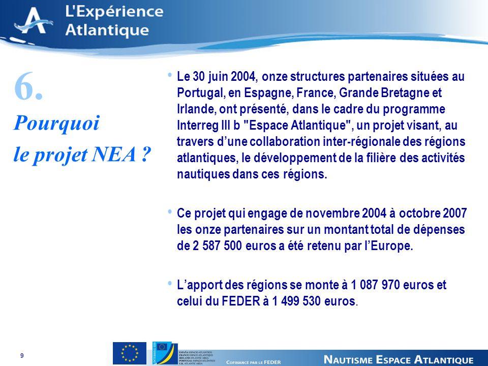 9 Le 30 juin 2004, onze structures partenaires situées au Portugal, en Espagne, France, Grande Bretagne et Irlande, ont présenté, dans le cadre du programme Interreg III b Espace Atlantique , un projet visant, au travers dune collaboration inter-régionale des régions atlantiques, le développement de la filière des activités nautiques dans ces régions.