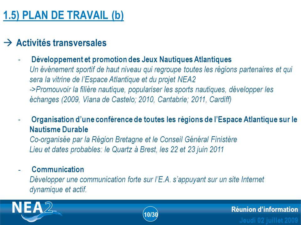 Informations administratives et financières DUBLIN – 23&24 JUIN 2009 Réunion dinformation Jeudi 02 juillet 2009 10/30 1.5) PLAN DE TRAVAIL (b) Activit