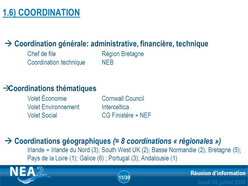 Informations administratives et financières DUBLIN – 23&24 JUIN 2009 Réunion dinformation Jeudi 02 juillet 2009 11/30 1.6) COORDINATION Coordination g