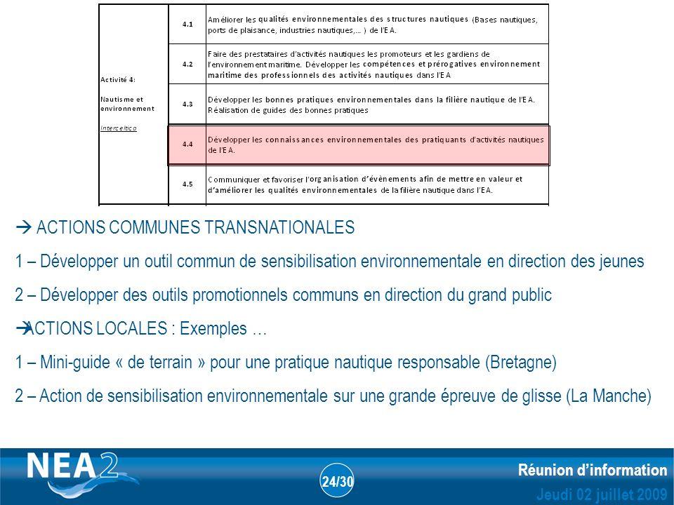 Informations administratives et financières DUBLIN – 23&24 JUIN 2009 Réunion dinformation Jeudi 02 juillet 2009 24/30 ACTIONS COMMUNES TRANSNATIONALES