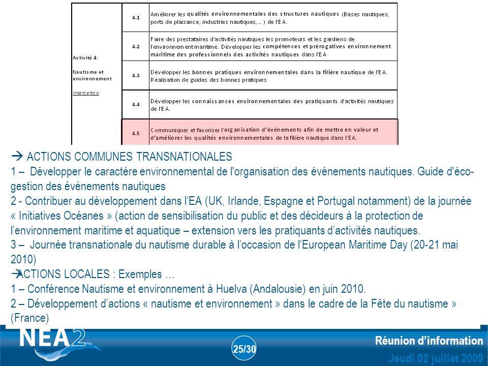 Informations administratives et financières DUBLIN – 23&24 JUIN 2009 Réunion dinformation Jeudi 02 juillet 2009 25/30 ACTIONS COMMUNES TRANSNATIONALES