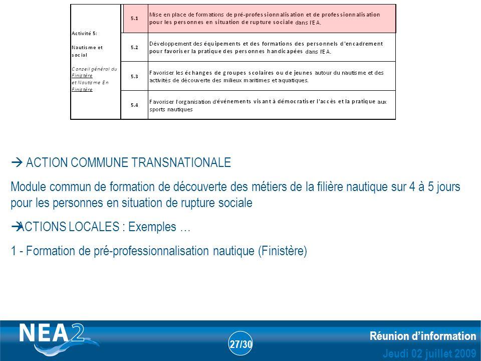 Informations administratives et financières DUBLIN – 23&24 JUIN 2009 Réunion dinformation Jeudi 02 juillet 2009 27/30 ACTION COMMUNE TRANSNATIONALE Mo