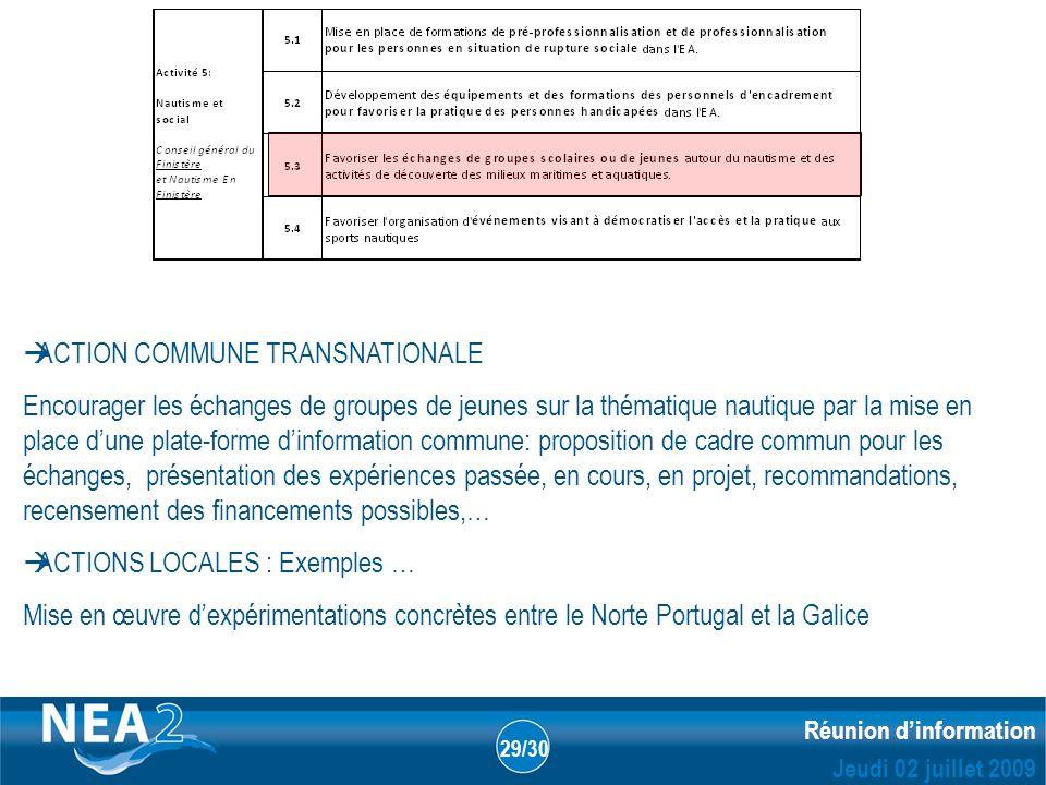Informations administratives et financières DUBLIN – 23&24 JUIN 2009 Réunion dinformation Jeudi 02 juillet 2009 29/30 ACTION COMMUNE TRANSNATIONALE En