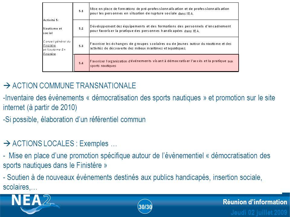 Informations administratives et financières DUBLIN – 23&24 JUIN 2009 Réunion dinformation Jeudi 02 juillet 2009 30/30 ACTION COMMUNE TRANSNATIONALE -I