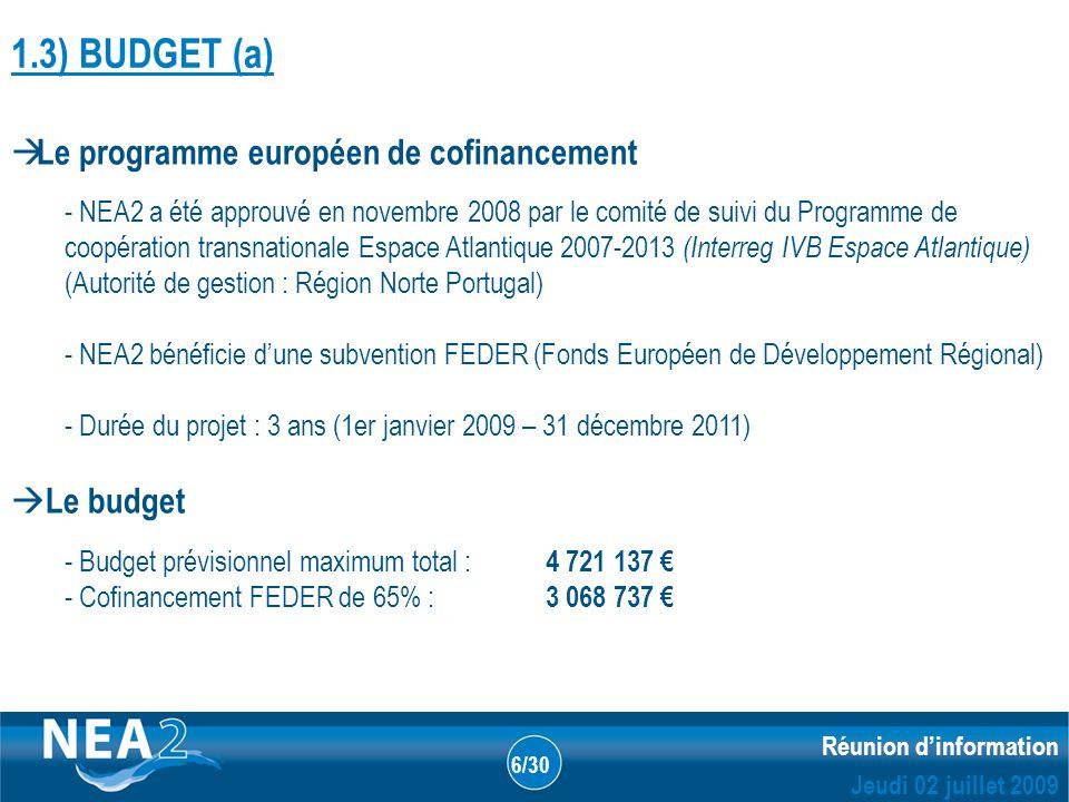Informations administratives et financières DUBLIN – 23&24 JUIN 2009 Réunion dinformation Jeudi 02 juillet 2009 6/30 1.3) BUDGET (a) Le programme européen de cofinancement - NEA2 a été approuvé en novembre 2008 par le comité de suivi du Programme de coopération transnationale Espace Atlantique 2007-2013 (Interreg IVB Espace Atlantique) (Autorité de gestion : Région Norte Portugal) - NEA2 bénéficie dune subvention FEDER (Fonds Européen de Développement Régional) - Durée du projet : 3 ans (1er janvier 2009 – 31 décembre 2011) Le budget - Budget prévisionnel maximum total : 4 721 137 - Cofinancement FEDER de 65% : 3 068 737