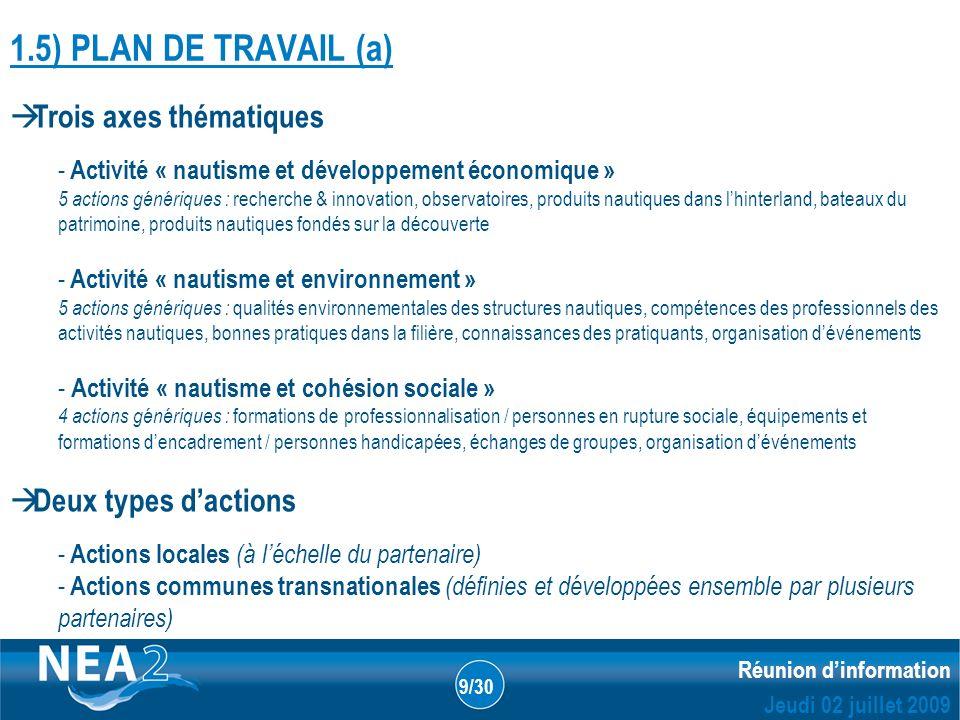 Informations administratives et financières DUBLIN – 23&24 JUIN 2009 Réunion dinformation Jeudi 02 juillet 2009 9/30 1.5) PLAN DE TRAVAIL (a) Trois ax