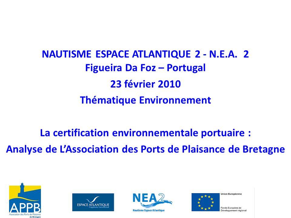 NAUTISME ESPACE ATLANTIQUE 2 - N.E.A. 2 Figueira Da Foz – Portugal 23 février 2010 Thématique Environnement La certification environnementale portuair