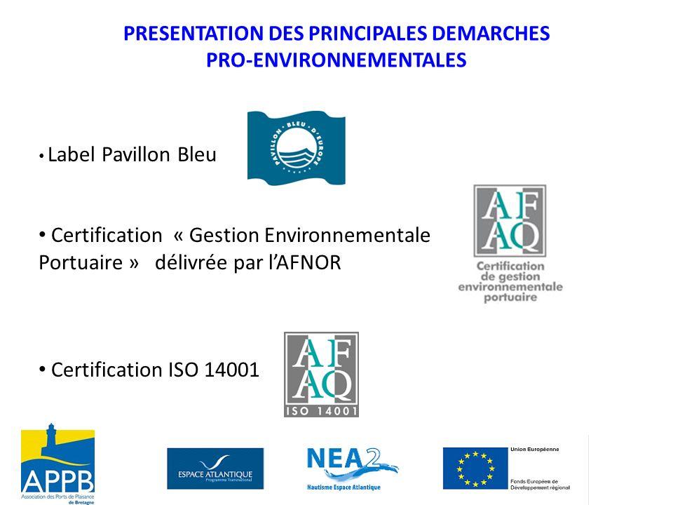 PRESENTATION DES PRINCIPALES DEMARCHES PRO-ENVIRONNEMENTALES Label Pavillon Bleu Certification « Gestion Environnementale Portuaire » délivrée par lAF