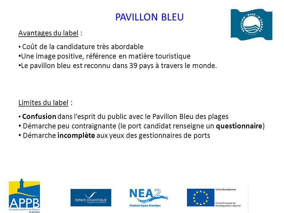 PAVILLON BLEU Avantages du label : Coût de la candidature très abordable Une image positive, référence en matière touristique Le pavillon bleu est rec