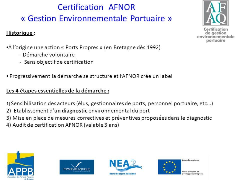 Certification AFNOR « Gestion Environnementale Portuaire » Historique : A lorigine une action « Ports Propres » (en Bretagne dès 1992) - Démarche volo