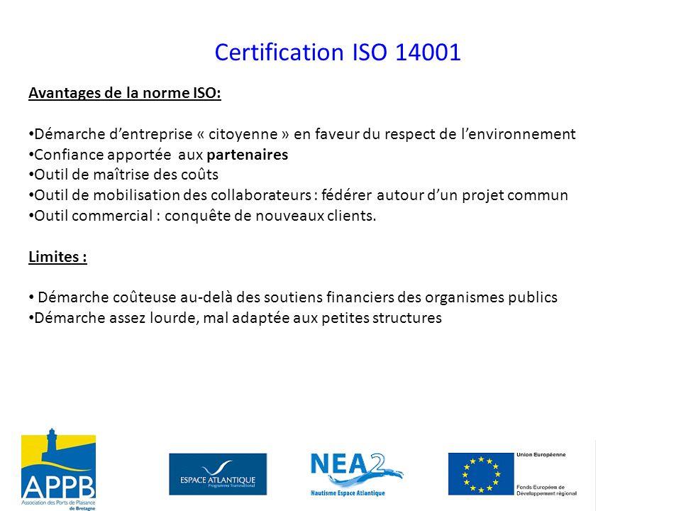 Avantages de la norme ISO: Démarche dentreprise « citoyenne » en faveur du respect de lenvironnement Confiance apportée aux partenaires Outil de maîtr