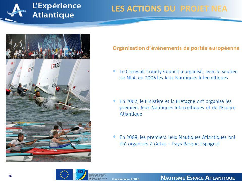 LES ACTIONS DU PROJET NEA 15 Organisation dévènements de portée européenne Le Cornwall County Council a organisé, avec le soutien de NEA, en 2006 les Jeux Nautiques Interceltiques En 2007, le Finistère et la Bretagne ont organisé les premiers Jeux Nautiques Interceltiques et de lEspace Atlantique En 2008, les premiers Jeux Nautiques Atlantiques ont été organisés à Getxo – Pays Basque Espagnol