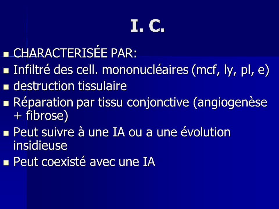 I. C. CHARACTERISÉE PAR: CHARACTERISÉE PAR: Infiltré des cell. mononucléaires (mcf, ly, pl, e) Infiltré des cell. mononucléaires (mcf, ly, pl, e) dest