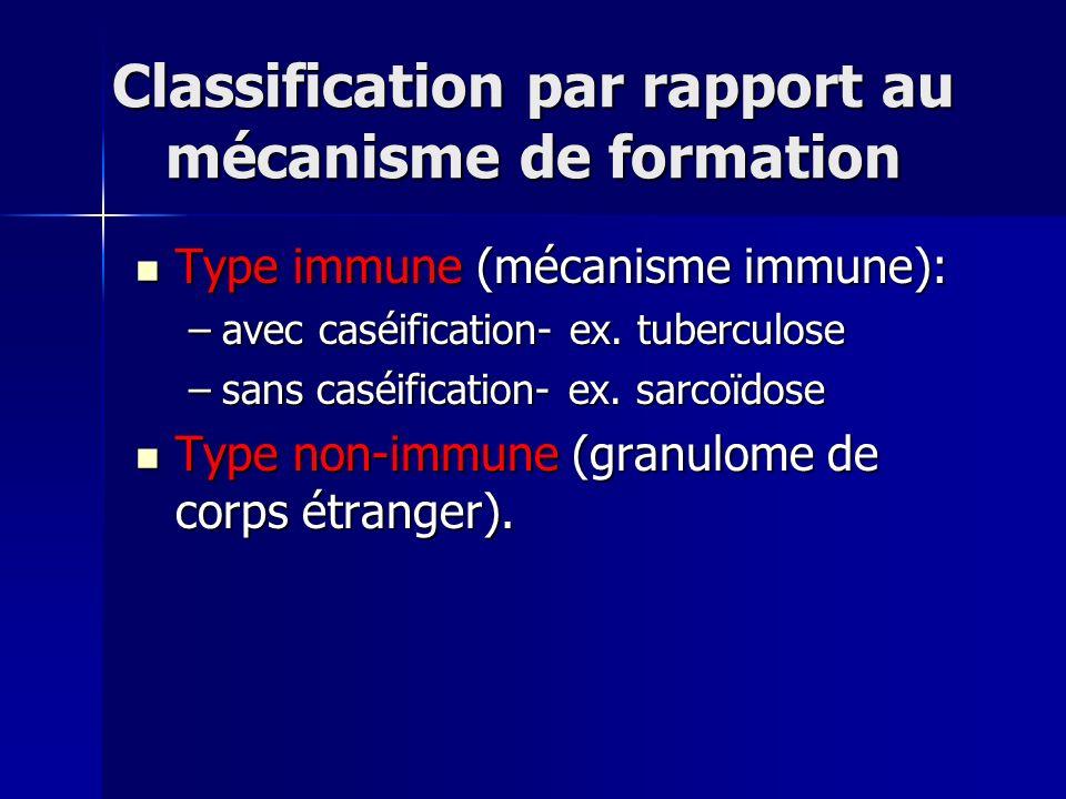 Classification par rapport au mécanisme de formation Type immune (mécanisme immune): Type immune (mécanisme immune): –avec caséification- ex. tubercul