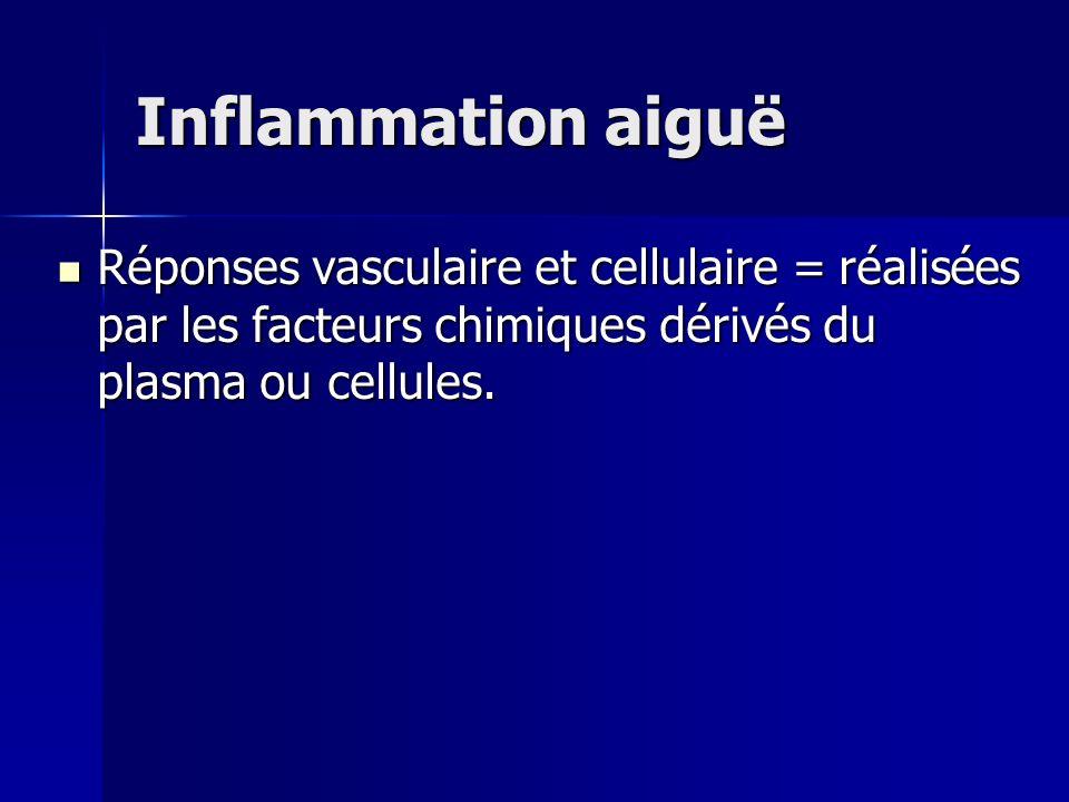 Inflammation aiguë Réponses vasculaire et cellulaire = réalisées par les facteurs chimiques dérivés du plasma ou cellules. Réponses vasculaire et cell