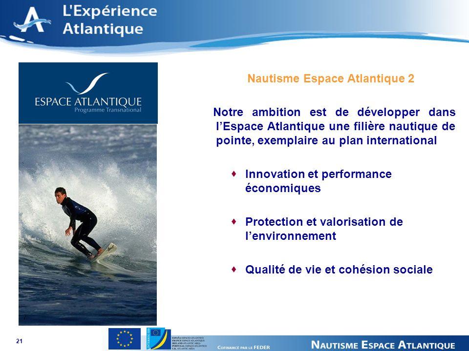 21 Nautisme Espace Atlantique 2 Notre ambition est de développer dans lEspace Atlantique une filière nautique de pointe, exemplaire au plan international Innovation et performance économiques Protection et valorisation de lenvironnement Qualité de vie et cohésion sociale