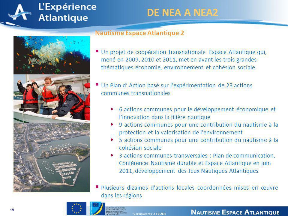 DE NEA A NEA2 Nautisme Espace Atlantique 2 Un projet de coopération transnationale Espace Atlantique qui, mené en 2009, 2010 et 2011, met en avant les trois grandes thématiques économie, environnement et cohésion sociale.