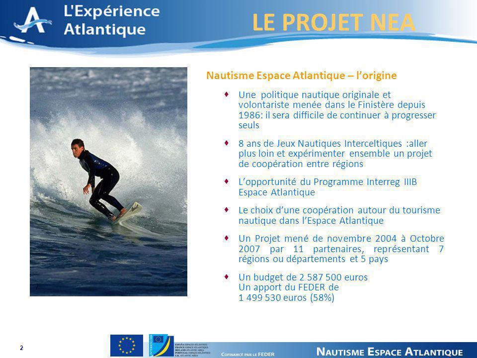 LE PROJET NEA 2 Nautisme Espace Atlantique – lorigine Une politique nautique originale et volontariste menée dans le Finistère depuis 1986: il sera di