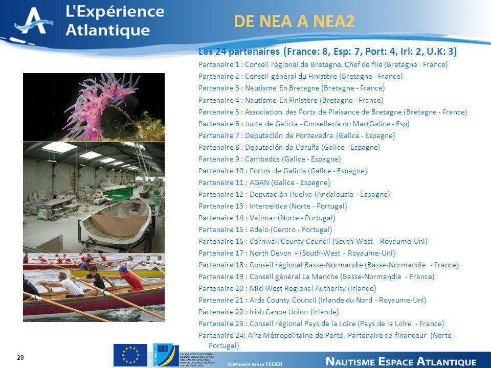 DE NEA A NEA2 20 Les 24 partenaires (France: 8, Esp: 7, Port: 4, Irl: 2, U.K: 3) Partenaire 1 : Conseil régional de Bretagne, Chef de file (Bretagne -