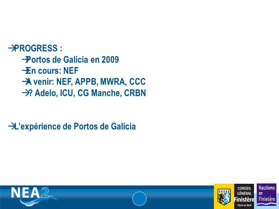 Informations administratives et financières DUBLIN – 23&24 JUIN 2009 PROGRESS : Portos de Galicia en 2009 En cours: NEF A venir: NEF, APPB, MWRA, CCC .