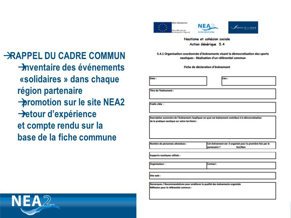 Informations administratives et financières DUBLIN – 23&24 JUIN 2009 RAPPEL DU CADRE COMMUN inventaire des événements «solidaires » dans chaque région partenaire promotion sur le site NEA2 retour dexpérience et compte rendu sur la base de la fiche commune