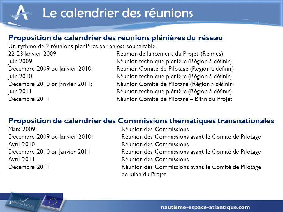 19 Le calendrier des réunions Proposition de calendrier des réunions plénières du réseau Un rythme de 2 réunions plénières par an est souhaitable.