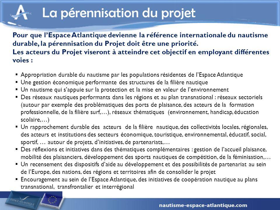 La pérennisation du projet Pour que lEspace Atlantique devienne la référence internationale du nautisme durable, la pérennisation du Projet doit être une priorité.