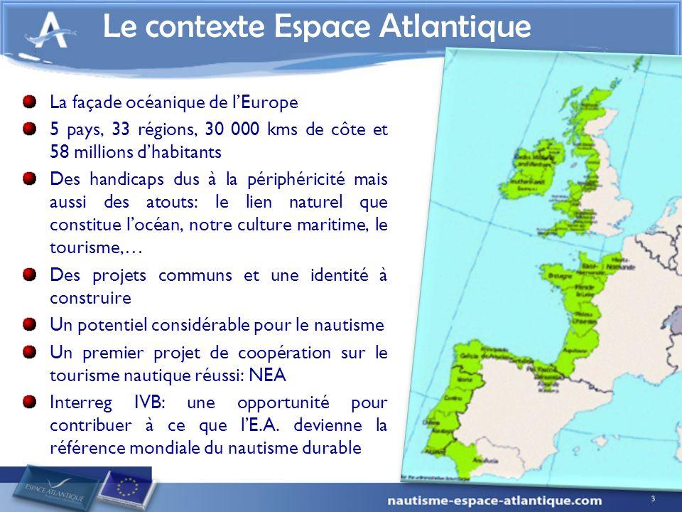 3 La façade océanique de lEurope 5 pays, 33 régions, 30 000 kms de côte et 58 millions dhabitants Des handicaps dus à la périphéricité mais aussi des atouts: le lien naturel que constitue locéan, notre culture maritime, le tourisme,… Des projets communs et une identité à construire Un potentiel considérable pour le nautisme Un premier projet de coopération sur le tourisme nautique réussi: NEA Interreg IVB: une opportunité pour contribuer à ce que lE.A.