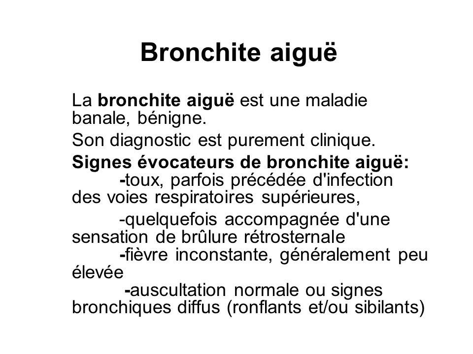 Bronchite aiguë La bronchite aiguë est une maladie banale, bénigne. Son diagnostic est purement clinique. Signes évocateurs de bronchite aiguë: -toux,