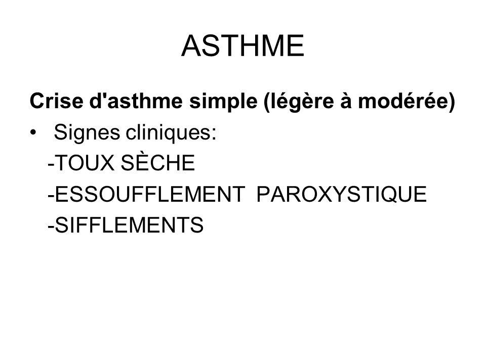 ASTHME Crise d'asthme simple (légère à modérée) Signes cliniques: -TOUX SÈCHE -ESSOUFFLEMENT PAROXYSTIQUE -SIFFLEMENTS