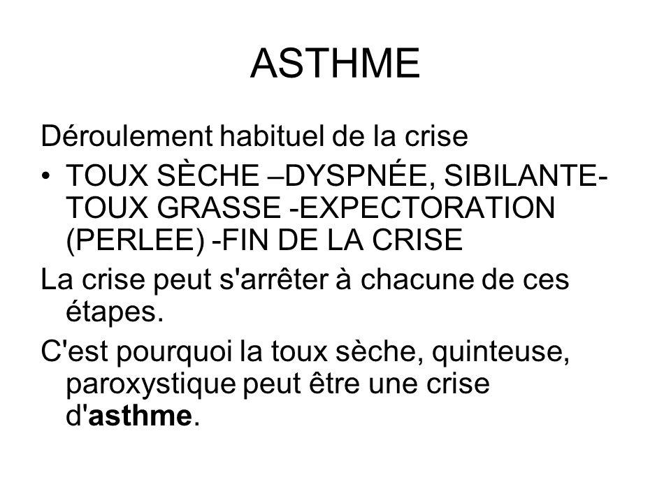 ASTHME Déroulement habituel de la crise TOUX SÈCHE –DYSPNÉE, SIBILANTE- TOUX GRASSE -EXPECTORATION (PERLEE) -FIN DE LA CRISE La crise peut s'arrêter à